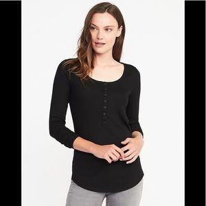 Semi Fitted Black Henley Top